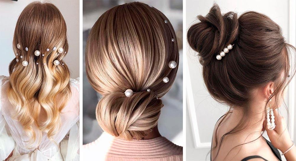Укладка волос с жемчугом