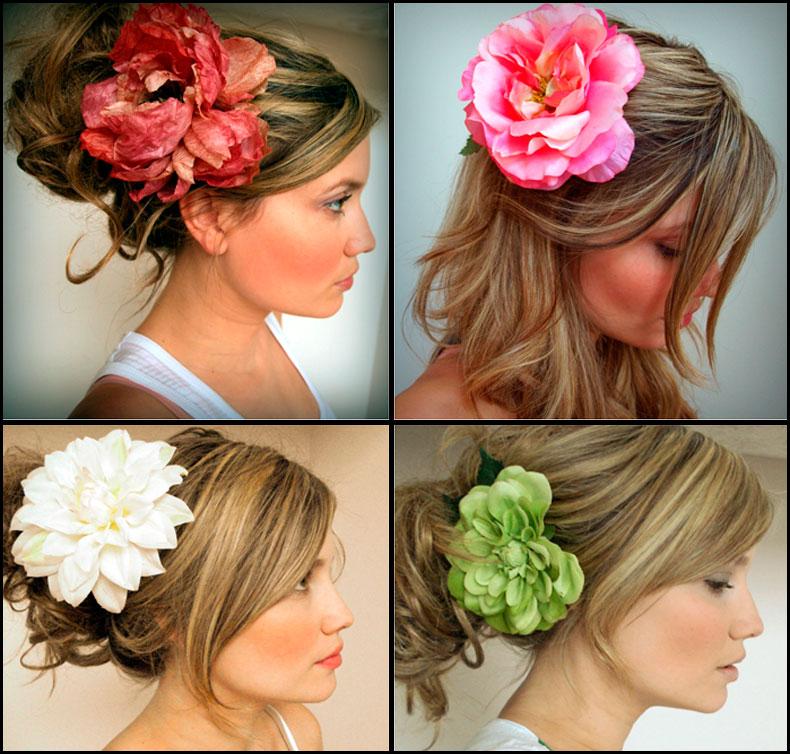 Цветы на волосы своими руками
