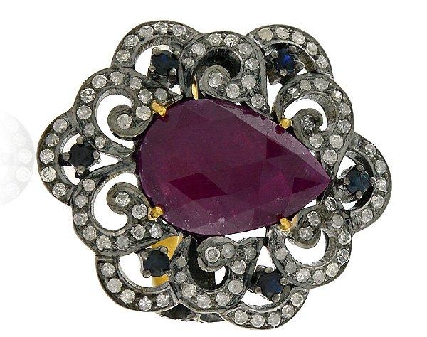 серебряный перстень с камнями, фото