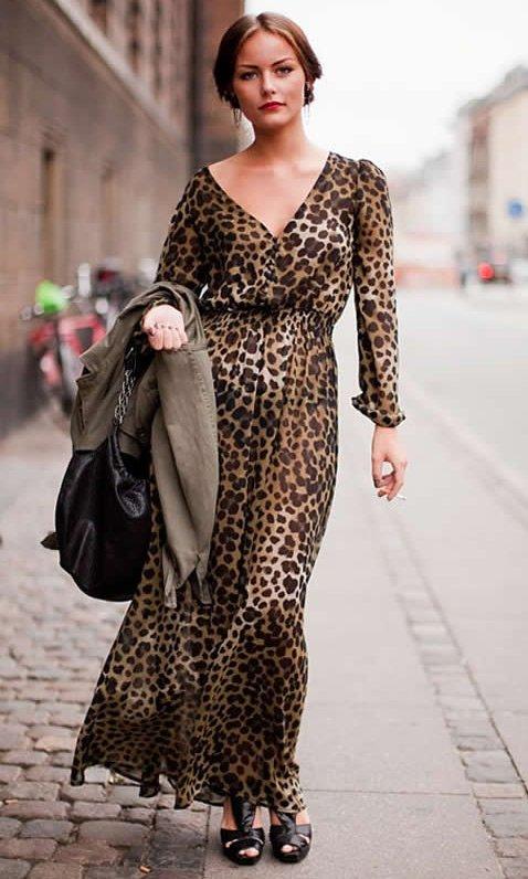 Леопардовое платье в пол фото