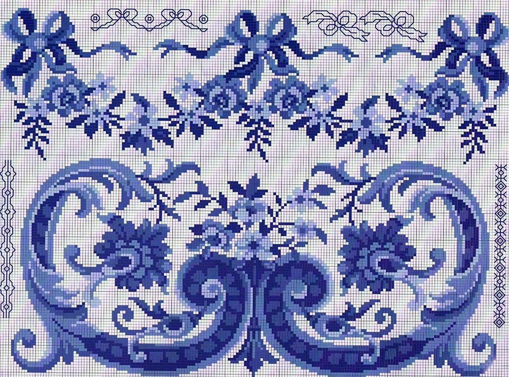 Гжель – схема для вышивки