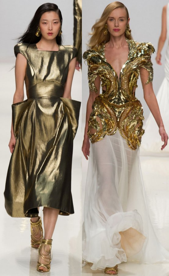 Золотые платья весна лето 2014
