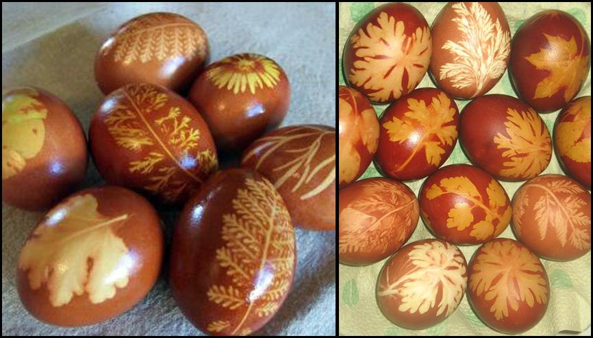 Окраска пасхальных яиц луковой шелухой