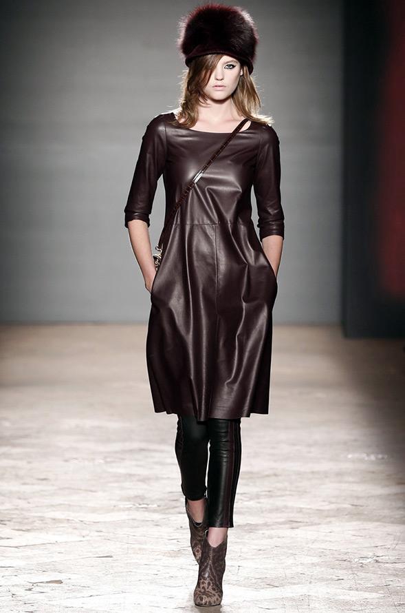 Кожаные платья осень зима 2014 2015 фото