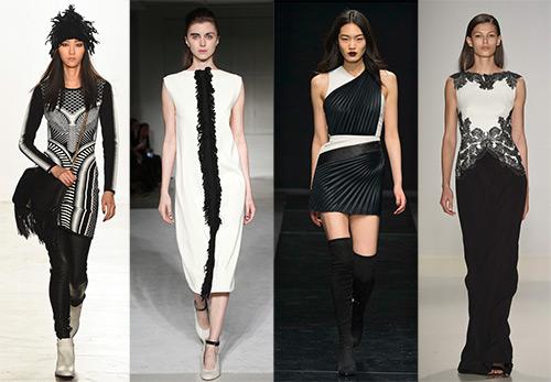 Черно-белое платье на осень