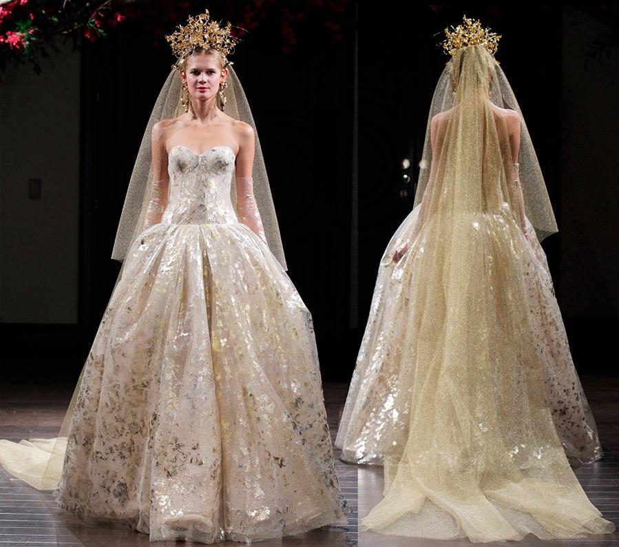 Золотистое свадебное платье Naeem Khan