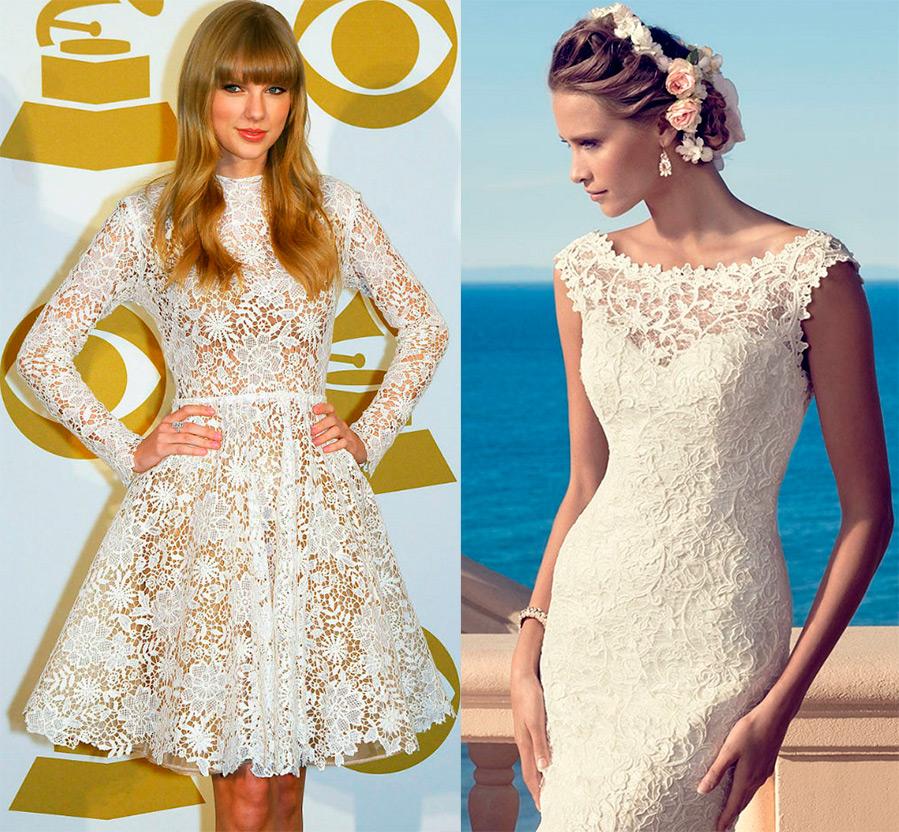 Платье из кружева и гипюра