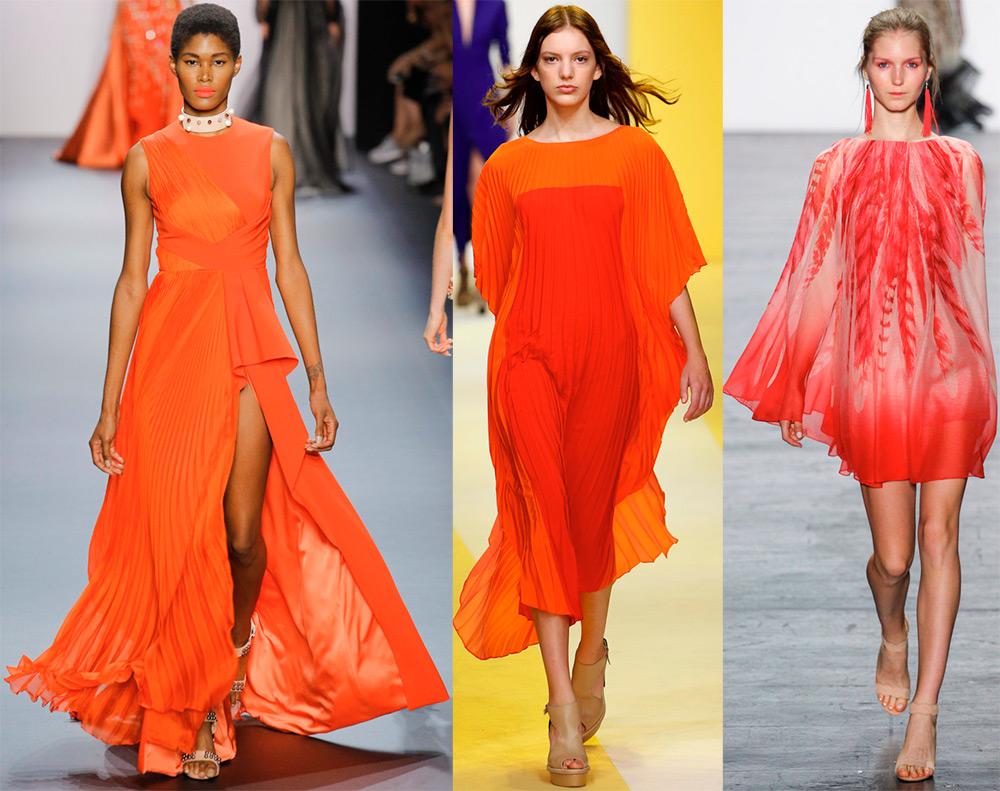 Красно оранжевые платья 2017