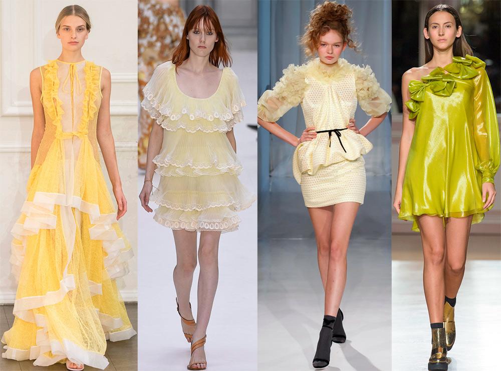 Модное жёлтое платье